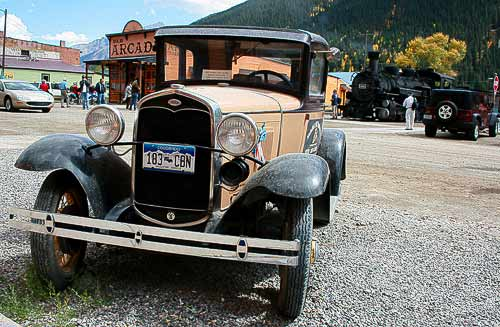 Ford Modell A in der ehemaligen Minenstadt Silverton, Rocky Mountains, Colorado