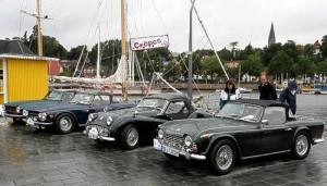 Eine Triumph 'Familie' am alten Hafen in Eckernförde