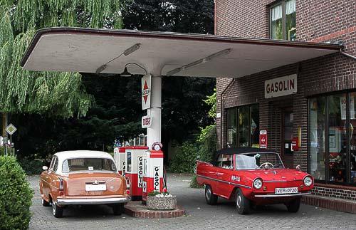 Original erhaltene Gasolin-Tankstelle in Bruchhausen-Vilsen